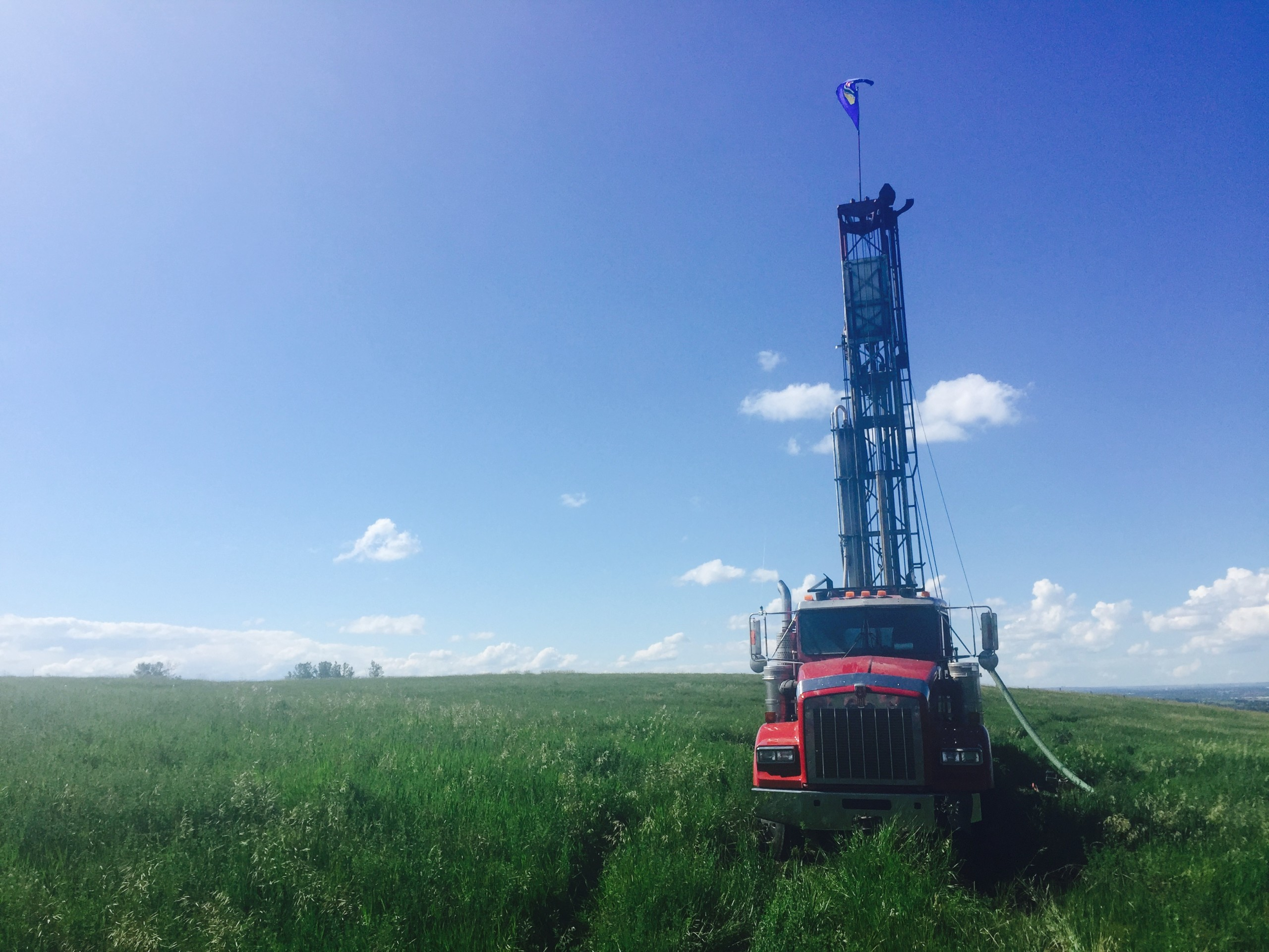 Well Drilling truck in field