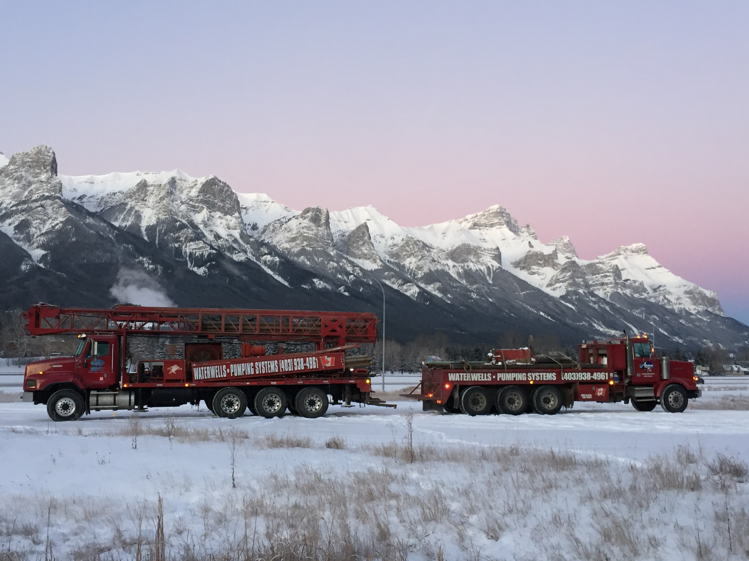 Drilling trucks in the mountains